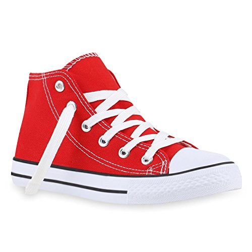stiefelparadies Kinder Turnschuhe Sneakers Schnürschuhe Sportschuhe Stoffschuhe 140059 Rot Rot 42 Flandell