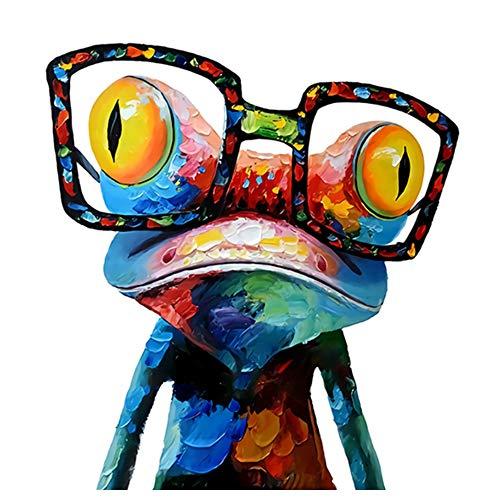 JinYiGlobal Leinwand Kunst Gemälde Moderne Tiere Wandposter und Drucke Frosch mit Brille Bilder für Wohnzimmer Dekoration 60x60cm (23,6