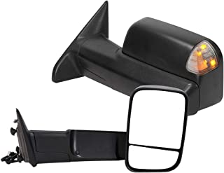 Qiilu Pair Power Heated Towing Mirrors with Amber Turn LED Signal Rearview Automotive Exterior Mirrors Compatible with 2010 Dodge 1500/2500/3500 Pickup, 2011-2017 for Ram 1500/2500/3500 - L&R