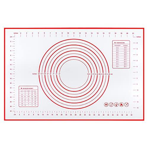 Sooair Tappetino da Forno in Silicone, 60×40cm Spianatoia per Impastare Silicone Antiaderente con Taglia, Tapis à Pâtisserie en Silicone antidérapant et résistant à la Chaleur avec Mesure