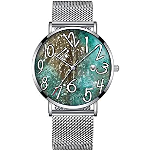 Minimalist Fashion Quartz Wrist Watch Elite Ultra Thin Waterproof Sports Watch with Date with Mesh Band 236.Speckled Turquoise Cowhide Leather Print