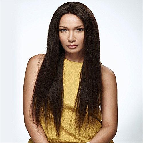 Peluca de pelo virgen brasileño 100% en una línea recta con el pelo humano de encaje completo de la peluca superior de seda está lleno de mis zapatos de simulación de pelo del cuero cabelludo