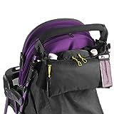 Zerodis Bolsa de cochecito de bebé, 2 portavasos y accesorios Bolsa de almacenamiento con bolsillo de teléfono celular de malla (negro)