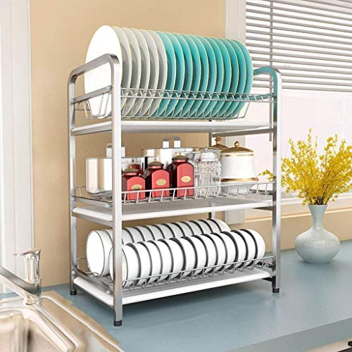 Dongyd Dish Drying Rack, Kitchen Shelf Tableware 304 Stainless Steel Tableware Drainage Stand Multi-Function Countertop Drying Bowl Storage Box (Size : A)