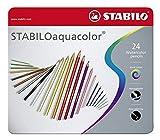 Matita colorata acquarellabile - STABILOaquacolor - Scatola in Metallo da 24 - Colori assortiti
