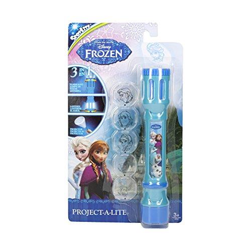 Disney Frozen 40314 Eiskönigin Taschenlampe mit 6 austauschbaren Linsen zum Projizieren-in Blisterverpackung, 5.2 x 1.4 x 9 cm