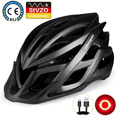 KINGLEAD Fahrradhelm mit StVZO LED Licht, Unisex-geschützter Fahrradhelm für Radrennen Skateboardfahren im Freien Sicherheit Superleichter Verstellbarer Fahrradhelm mit...