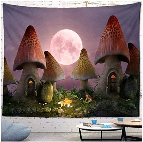 Tapiz, brujería, paisaje, habitación de hongos, montaje en pared, astrología bohemia, manta para el sol, sol, luna, luz de noche oscura, 150x200cm