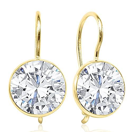 14K Solid Gold White Cubic Zirconia Dangle Earrings - Drop Earrings for...