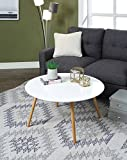 Convenience Concepts Oslo Round Coffee Table, Glossy White