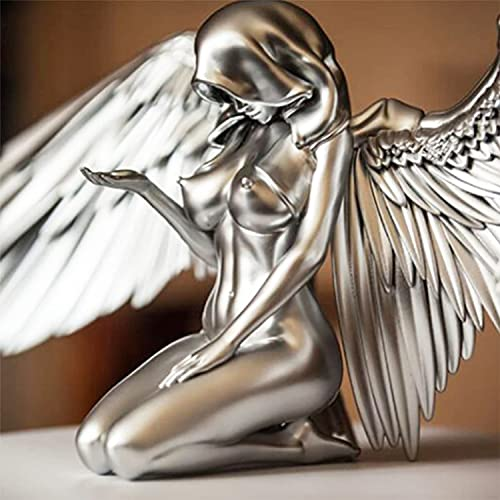 Art Angel Female Woman Wings Kneeling Cloak Hat, 2021 Kneeling Naked Winged Female Statue, 3D Silver Resin Angel Sculpture Suitable for Home and Garden Memorial Decoration