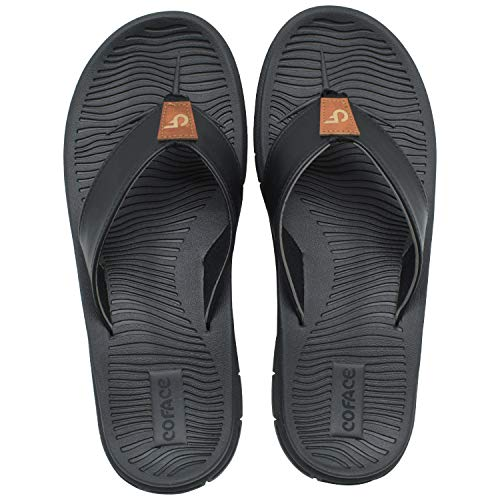 Flip Flops for Men With Leather Strap Yoga Mat Beach Rubber Cozy Thong Sandals Black Size 11