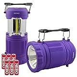Nebo Poppy LED Lantern & Flashlight 300 Lumen Collapsible Camping and Emergency Lantern with 6 AA Batteries (Purple)