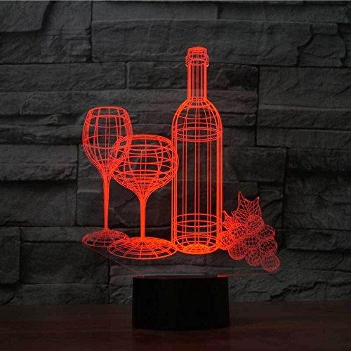 Weinflasche 3D Illusion Lampe LED, mit 7 Farben blinken&Fernbedienung und Touch-Schalter USB Powered, Schlafzimmer Schreibtischlampe für Kids'Gifts Home Dekoration