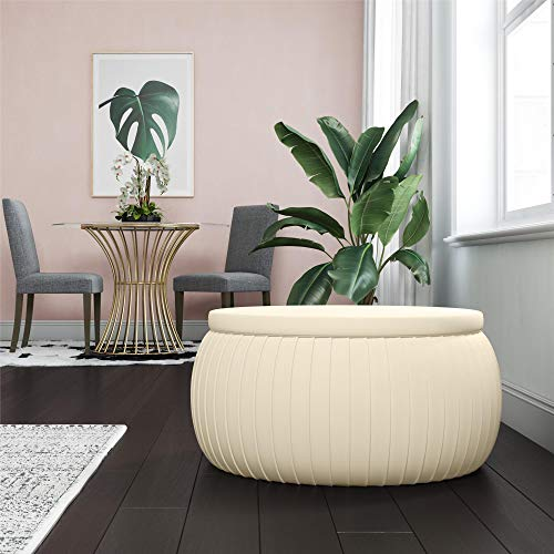 Cosmoliving Sapphire Modern Storage Ottoman Coffee Table With Pleated Cream Velvet Fabric Buy Online In Canada At Canada Desertcart Com Productid 102482395