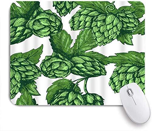 MUYIXUAN Mauspad - Grüne Blätter Künstlerische Bier Hopfen trinken Zweig Natur Pflanze Skizze - Gaming und Office rutschfeste Gummibasis Mauspads,240×200×3mm
