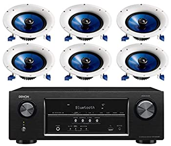 Denon 5.2 Channel 700-Watt Full 4K Ultra HD Bluetooth AV Home Theater Receiver + Yamaha High-Performance Moisture Resistant 2-Way 8  140 watt Surround Sound in-Ceiling Speaker System  Set of 6