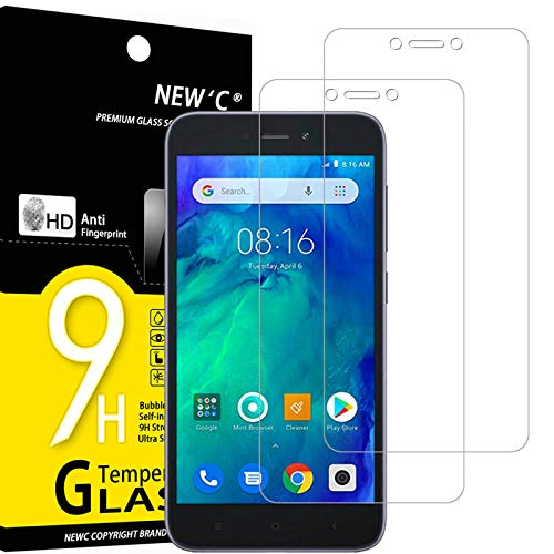 NEW'C 2 Pieces, Tempered Glass Compatible with Xiaomi Redmi Go, Anti-Scratch Protective Film, Anti-Fingerprints, 9H Hardness, 0,33mm Ultra Transparent, ...