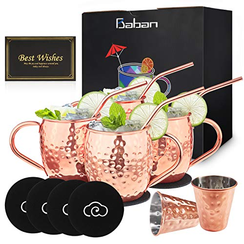 Baban Moscow Mule Kupferbecher 4er Set, Handgefertigte Lebensmittelechte Kupferbecher für Moscow Mule Cocktail Trinkbecher, 500ML Geschenk-Set Enthält 2 Messbecher
