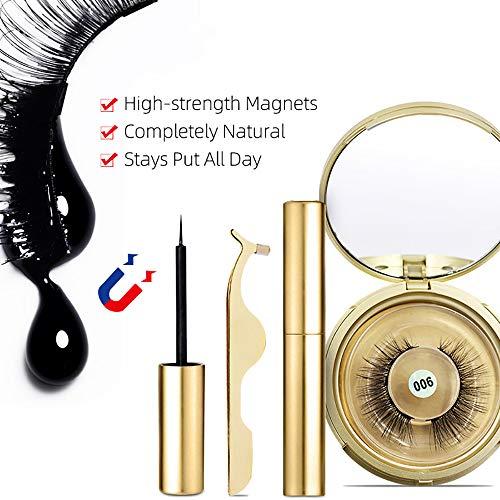 ZUEN Kit Traceur Liquide Magnétique, Faux Cils Magnétiques Réutilisables 3D Kit Ultra Extension Mince Souple Et Confortable pour Les Femmes Natural Look