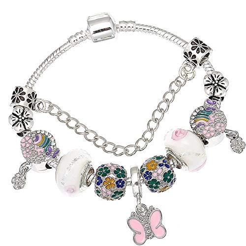 MZFRXZ Damesarmband, hoge kwaliteit, kleurrijke Murano regenboogparels, bedelarmband, past met vlinderhanger, merkarmband voor vrouwen