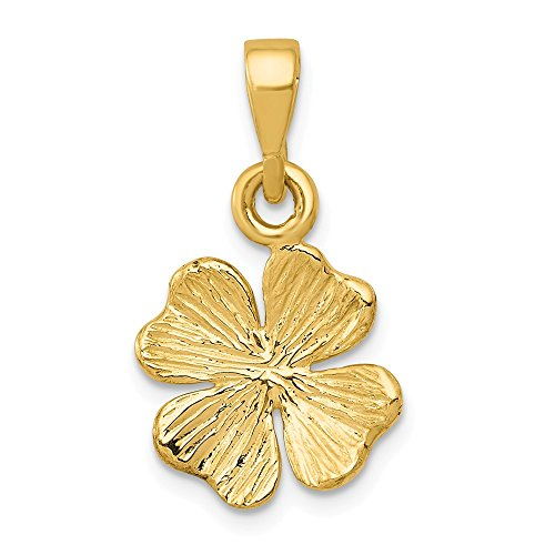 14k Yellow Gold Textured Four Leaf Clover Pendant Charm Necklace Good Luck Italian Horn Celtic Claddagh Fine Jewelry For Women Gifts For Her