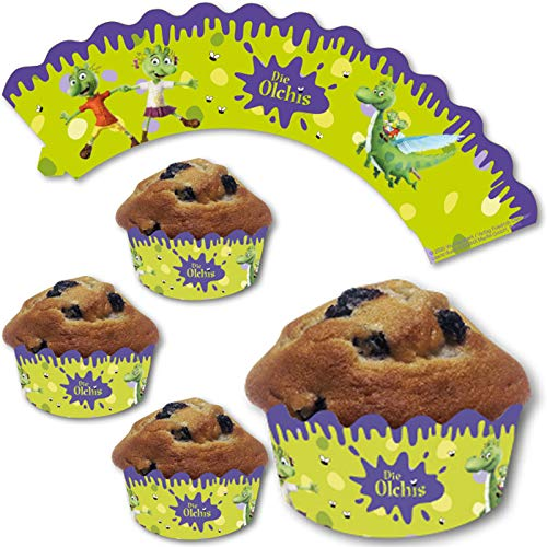 12 Deko-Banderolen für Muffins und Cupcakes * OLCHIS * für Kinderparty und Kindergeburtstag   Olchi Pappteller Partyteller Party Set
