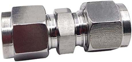 Metalwork Metric 304 Stainless Steel Compression Tube Fitting, Union, W/Double Ferrule, 10mm Tube OD x 10mm Tube OD (2 Pcs)