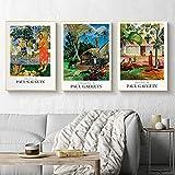 GYJDD Paul Gauguin Poster E Impresiones Impresionista Cuadros De Arte De Pared Pintor Famoso Pinturas En Lienzo para La Salon De Estar Decoracion De La Pared del Hogar 40x50cmx3 Sin Marco