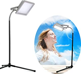 LED White Light Therapy Lamp with Stand and Gooseneck, 10000 Lux Natural Daylight Compact Personal Energy Light, UV-Free Upgraded Table Light Therapy Sun Lamp for Home Office Late Shifts and Insomnia