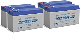 Powersonic 12 volt 7 Amp Hour Sealed Lead Acid Battery UPS Alarm Systems - 4 Pack
