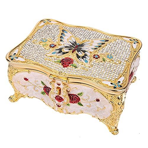 QUNHU Pintura de Diamantes Mariposa Decorativa Decorativa Joyería Joyería Caja de Tina Recipientes de Almacenamiento Jewlery Organizador con Espejo - (Color: Oro Blanco Mariposa)
