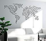 BJWQTY Adhesivo artístico de Pared Mundo Especial Mapa diseño geométrico Mundo Mapa Pared calcomanías de Vinilo decoración póster Mural