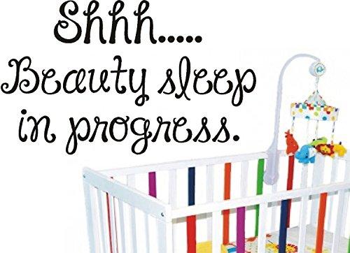 Beauty Sleep Shhh in Progress Sticker mural en vinyle Berceau Lit Bébé Rêve Chambre, Vinyle, rouge foncé, 95x57