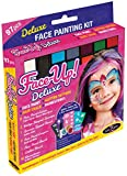 GlitZGlam Kit de Pintura Facial XL Original - Face-UP Deluxe: 97 Piezas, 3 en 1: Pintura Facial, Tatuajes con Purpurina, pedrería y Tiza para el Cabello. Hipoalergénico y Probado por dermatólogos