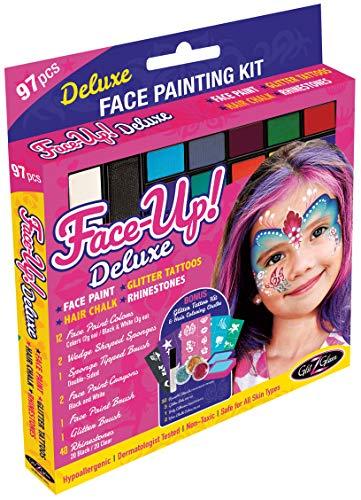 Original XL Gesichtsbemalungsset - FACE-UP Deluxe: 97 Stück, 3 Zoll 1: Gesichtsbemalung, Glitzertattoos mit 32 wiederverwendbaren Schablonen, und Haarfarbe. Hypoallergen & Dermatologe-getestet
