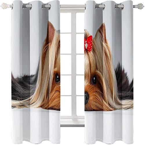 KONGWST 2 Paneles,Cortinas Opacas,Lindo Perro Mascota,Ojales De Metal ,Decoración Ventanas Para-70Cmx160Cmx2Pcs