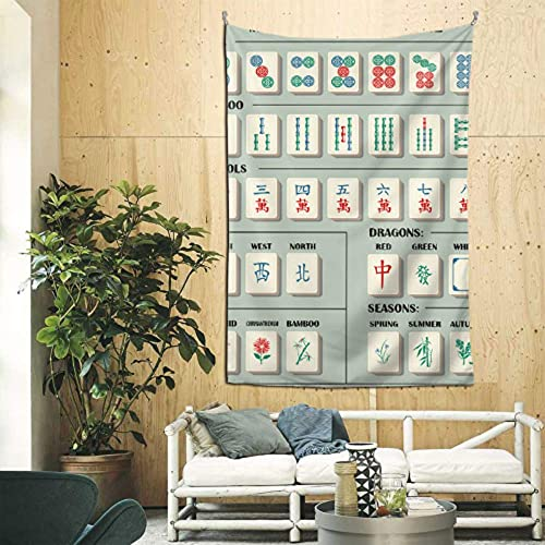 N\A Tapiz Tapices de Pared Entretenimiento de China Mahjong Juego de Mesa Tapiz de Pared para niños pequeños Arte de Pared para apartamento Dormitorio Habitación Telón de Fondo Decoración del hogar