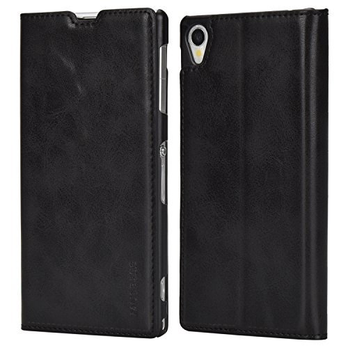 Mulbess Handyhülle für Sony Xperia Z1 Hülle Leder, Sony Xperia Z1 Handytasche, Slim Flip Schutzhülle für Sony Xperia Z1 Case, Schwarz
