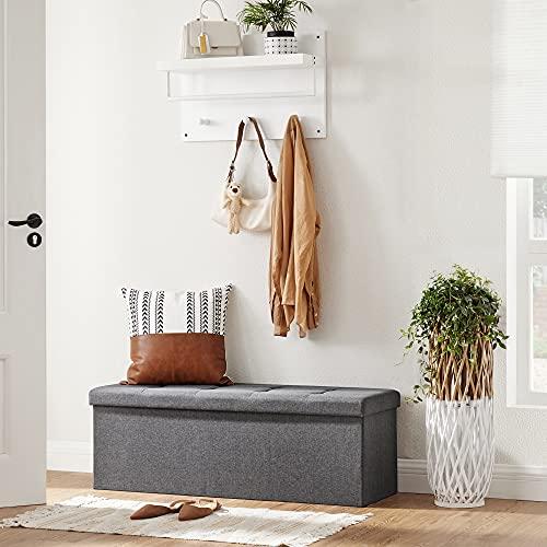 Songmics Sitztruhe 3-Sitzer Leinen, dunkelgrau, 110x38x38cm - 5