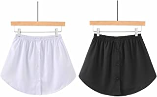قطعتان من التنانير السفلية السفلية العلوية - لون سادة مع أزرار، تنورة سكاتر صغيرة، وصلة قميص وتنورة قصيرة للنساء (L)