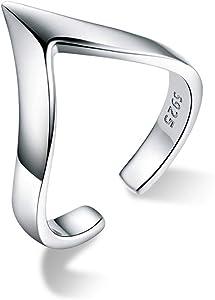 GDDX 925 Sterling Silver Chevron Love Ring Regolabile a Forma di V Finger Open Band Thumb Rings per Le Donne