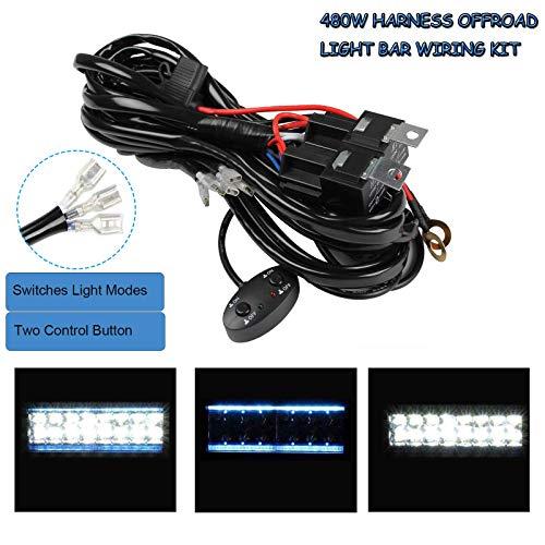YUGAUNG Update Version LED Balken Beam Kabel 3M 480W 14AWG 3 Drähte Verdrahtung wasserdichter LED Balken mit Relais und Universalschalter für Auto SUV ATV LKW 1 Kabelsteuerung 2 Sätze LED-Balken