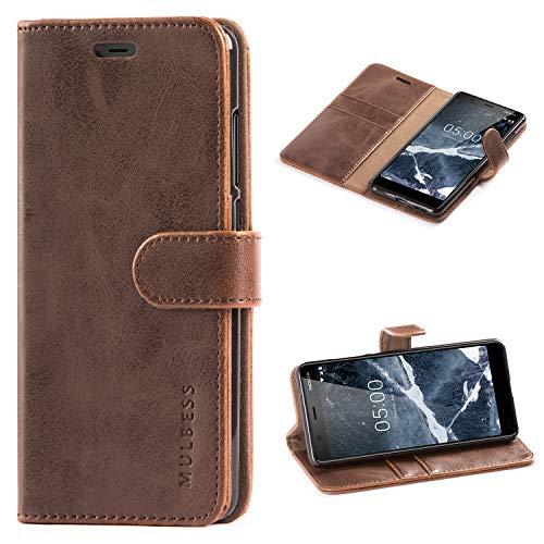 Mulbess Handyhülle für Nokia 5.1 Hülle Leder, Nokia 5.1 Handytasche, Vintage Flip Schutzhülle für Nokia 5.1 Hülle, Kaffee Braun