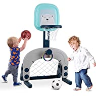 Basketball Hoop Set, 3-in-1 Kids Basketball Stand Sports Activity Center Ball Games Adjustable Easy ...