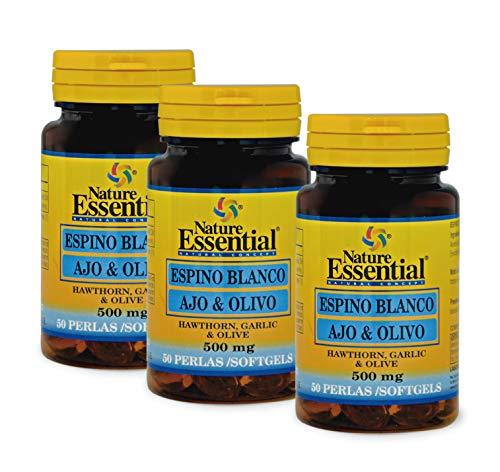NATURE ESSENTIAL | Espino Blanco + Ajo + Olivo | 500 mg | Para Ayudar a Reducir la Ansiedad | Para la Buena Circulación de la Sangre y Equilibrar el Azúcar en Sangre | 50 Perlas (Pack 3 unid.)