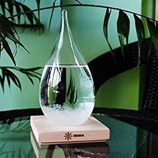 Storm Glass Weather Predictor (LARGE) -Weather Forecaster Weather Station Creative Crystal Glass Bottle Desktop Drops Craft Weather Station with Pure Wood Base - High Class Decoration on Home & Office