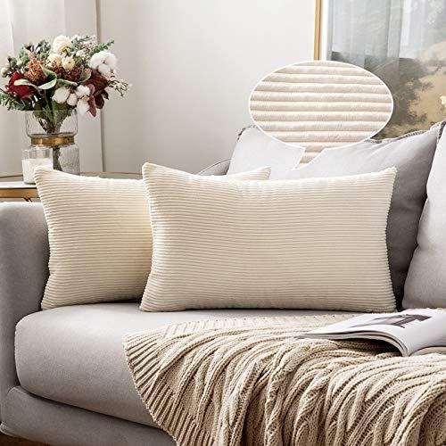 MIULEE 2er Set Kordsamt Kissenbezug mit Streifen Kissenbezüge Dekorative Dekokissen Sofakissen Kissenhülle mit Verstecktem Reißverschluss für Wohnzimmer Bett Schlafzimmer 30 x 50 cm Beige