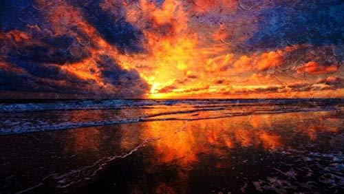数字で描くキットDIY油絵キャンバスカラートーク大人のための家の壁の装飾初心者-夕焼け空海雲砂ウェットミラー反射40×50cm(フレームレス)
