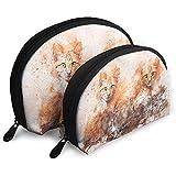 Gato Animal Acuarela Bolsas portátiles Bolsa de Maquillaje Bolsa de Aseo, Bolsas de Viaje portátiles multifunción Pequeña Bolsa de Embrague de Maquillaje con Cremallera
